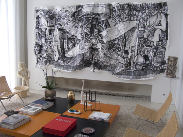 Levinas living room with Javier Arces mural after DIego Rivera. (Photo by Jason Edward Kaufman (c) 2011)