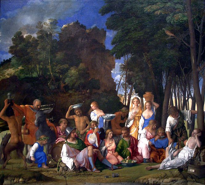 "Bellini and Titian's ""The Feast of the Gods,"" 1514/1529, in the National Gallery of Art."
