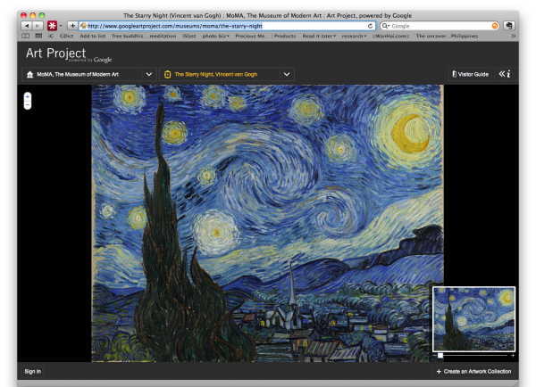 The Google Art Project allows virtual visits to a growing network of museums.