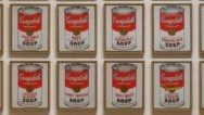 "Half of Warhol's set of 32 Campbell's Soup Cans, 1962, synthetic polymer paint on canvas, each 20 x 16"", The Museum of Modern Art, New York."