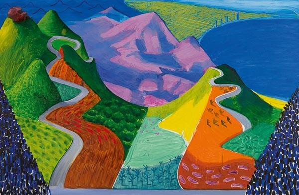 David Hockney, Pacific Coast Highway and Santa Monica, 1990